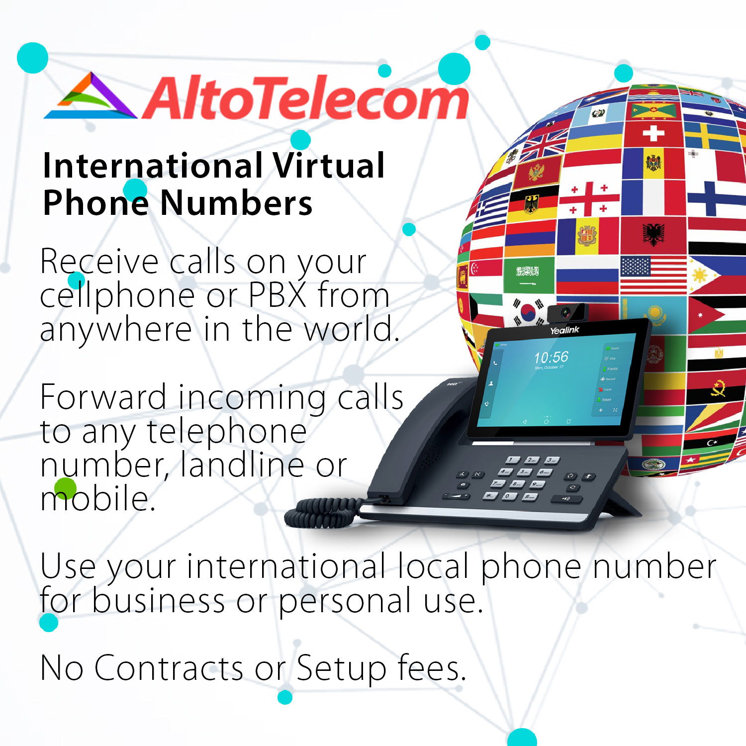 International VoIP Telephone Numbers from 44 countries