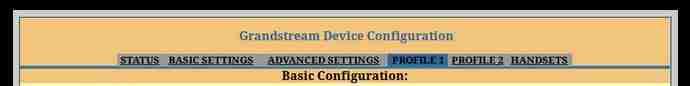 Grandstream device configuration - Profile 1