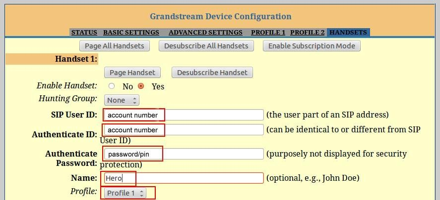 Configure your Grandstream for SIP trunking
